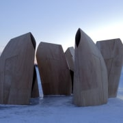 Architect: Patkau ArchitectsPhotography by James Dow architecture, freezing, ice, memorial, sculpture, snow, winter, teal