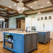 There is a reason blue is one of cabinetry, ceiling, countertop, cuisine classique, floor, flooring, hardwood, interior design, kitchen, room, wood flooring, brown