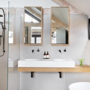 Storage, even somewhere to hang a towel, is bathroom, home, interior design, room, sink, gray, white