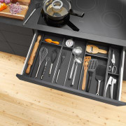 Blum New Zealand floor, furniture, product design, table, black, orange