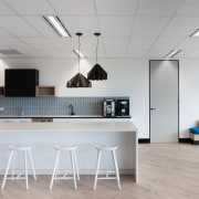 Austbrokers Countrywide – New office designed by A1 architecture, ceiling, floor, flooring, furniture, interior design, kitchen, office, product design, table, gray, white