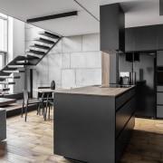 Architect: MetaformaPhotography by Krzysztof Strażyński cabinetry, countertop, cuisine classique, floor, interior design, interior designer, kitchen, loft, product design, black, white
