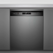 This contemporary-look Midea black stainless steel dishwasher has home appliance, kitchen appliance, major appliance, product, gray, black