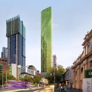 A green jewel, the new tower is different building, city, commercial building, condominium, daytime, downtown, metropolis, metropolitan area, mixed use, neighbourhood, real estate, sky, skyscraper, street, tower block, urban area, white