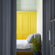 Looking into the bedroom door, home, house, interior design, window, yellow, black, gray