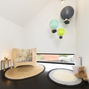 This nursery area features the perfect child-height window ceiling, floor, furniture, home, house, interior design, lamp, lampshade, light fixture, lighting, lighting accessory, product design, room, table, white