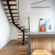 Architect: Martin ArchitectsPhotography by Alexander Kondrianenko chair, floor, furniture, interior design, loft, product design, shelf, stairs, table, wall, wood, gray, white