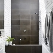 Architect: Liam WallisPhotography by Tess Kelly angle, bathroom, floor, flooring, interior design, plumbing fixture, room, shower door, tile, wall, gray, black, white