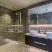 Find out more bathroom, floor, interior design, room, tile, brown, gray