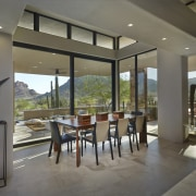 The surrounding desert is almost like a painting house, interior design, real estate, window, gray