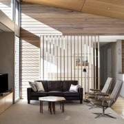 The timber casts a variety of interesting shadows architecture, ceiling, daylighting, floor, flooring, furniture, house, interior design, living room, wood flooring, white, gray, brown