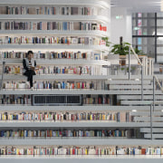 Deep shelves at the Tianjin Binhai Library Tianjin building, gray