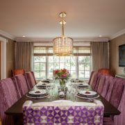 Try incorporating purple through accessories when decorating a ceiling, dining room, estate, home, interior design, living room, property, real estate, room, table, window, brown