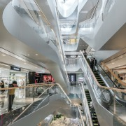 Raffles City Hangzhou – UNStudio - Raffles City architecture, building, escalator, metropolis, metropolitan area, shopping mall, gray