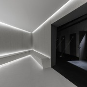 The waiting room at the new Jian Li architecture, black and white, ceiling, daylighting, interior design, light, gray, black