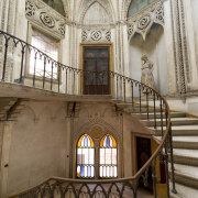 An octagonal staircase leads to the upper floor building, estate, facade, medieval architecture, tourist attraction, window, brown, gray