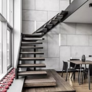 See the apartment here architecture, floor, flooring, handrail, interior design, loft, product design, stairs, structure, white, gray