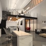 Calder Stewart developed this project using an adaptable architecture, ceiling, interior design, living room, loft, gray