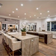 The Weeknd's massive US$19.995 million mansion - The cabinetry, ceiling, countertop, cuisine classique, estate, floor, flooring, hardwood, interior design, kitchen, property, real estate, room, wood flooring, gray, brown