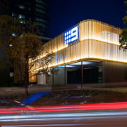 Channel 9 Headquarters – Cox Howlett & Bailey apartment, architecture, building, condominium, corporate headquarters, facade, home, hotel, house, landscape lighting, lighting, mixed use, night, property, real estate, residential area, black