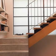 Concrete steps rise to meet wood architecture, floor, flooring, glass, handrail, hardwood, interior design, laminate flooring, product design, shelf, shelving, stairs, wood, wood flooring, brown, white