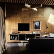 Wood panel walls are in keeping with the architecture, ceiling, floor, flooring, furniture, interior design, living room, table, wall, wood, black