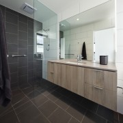Architect: Ryall & Smith ArchitectsPhotography by John architecture, bathroom, cabinetry, countertop, floor, flooring, interior design, kitchen, product design, real estate, room, sink, tile, black, gray