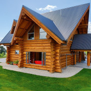 2017 House of the Year Entrants - 2017 cottage, facade, home, house, log cabin, property, real estate, roof, wood, green