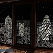 Designed by HoleRoll door, glass, lighting, window, black