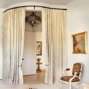 Curtains ensure the master bedroom is kept private ceiling, curtain, decor, home, interior design, room, textile, window, window covering, window treatment, white
