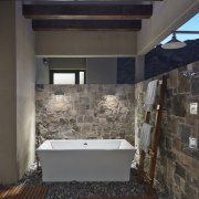 Another view of the outdoor bathroom architecture, bathroom, daylighting, floor, flooring, home, house, interior design, room, tile, black, gray
