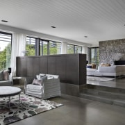 Architect: B.E Architecture architecture, ceiling, floor, house, interior design, living room, lobby, real estate, gray, black