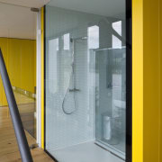 The shower faces out to the lake - architecture, door, glass, house, interior design, window, gray, brown