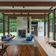 Clerestory windows ring this living area ceiling, house, interior design, living room, real estate, window, wood, gray, brown
