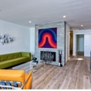 Wood floors run throughout the home ceiling, home, interior design, living room, property, real estate, room, wall, gray