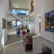 This large, art gallery-esque space dominates the centre architecture, exhibition, floor, interior design, museum, tourist attraction, gray