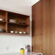 Clever use of space makes for a user architecture, cabinetry, countertop, furniture, interior design, kitchen, plywood, product design, shelf, shelving, wood, brown, white