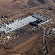 Construction underway on the Gigafactory - Construction underway aerial photography, bird's eye view, brown, black, gray