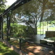 The Glass House by Philip Johnson - The architecture, cottage, estate, home, house, outdoor structure, plant, property, real estate, tree, brown