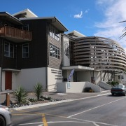 Finalist in new category: Multi-storey Timber Buildings (Category apartment, architecture, building, car, city, condominium, facade, family car, house, luxury vehicle, metropolitan area, mid size car, mixed use, neighbourhood, property, real estate, residential area, sedan, vehicle, gray, black