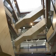 At the Transport Accident Commission headquarters, Aurecon aimed architecture, building, daylighting, stairs, structure, brown, white