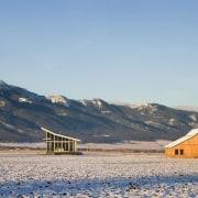 Architect: Olson Kundig Architects  arctic, cloud, ecoregion, ecosystem, fell, field, freezing, grassland, hill, horizon, landscape, log cabin, morning, mountain, mountain range, plain, plateau, prairie, rural area, sky, snow, steppe, tundra, wilderness, winter, gray