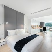 Room with a view? This master bedroom also architecture, bed frame, bedroom, interior design, real estate, room, suite, gray, white