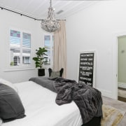 Architect: Allan McIntosh of Buildology Ltd bedroom, ceiling, home, house, interior design, property, real estate, room, window, white, gray