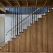 Wooden interiors gives a very rustic look - architecture, daylighting, door, facade, floor, flooring, handrail, hardwood, interior design, laminate flooring, stairs, structure, wall, wood, wood flooring, wood stain, brown, gray