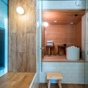 The Tervahovi Silos / PAVE Architects - The architecture, bathroom, ceiling, floor, flooring, hardwood, home, house, interior design, laminate flooring, wall, wood, wood flooring, gray, brown