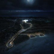 Architect: Terrior atmosphere, atmosphere of earth, darkness, earth, geological phenomenon, horizon, moonlight, night, ocean, phenomenon, sea, sky, water, black