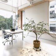 This office has large windows looking out to furniture, home, interior design, real estate, table, white