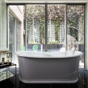 Architect: Alchemi GroupStory from Devon & bathroom, glass, home, interior design, room, window, gray, black