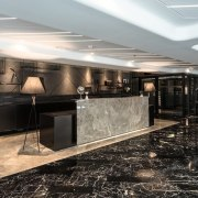 Hotel Ease ceiling, floor, flooring, interior design, lobby, black